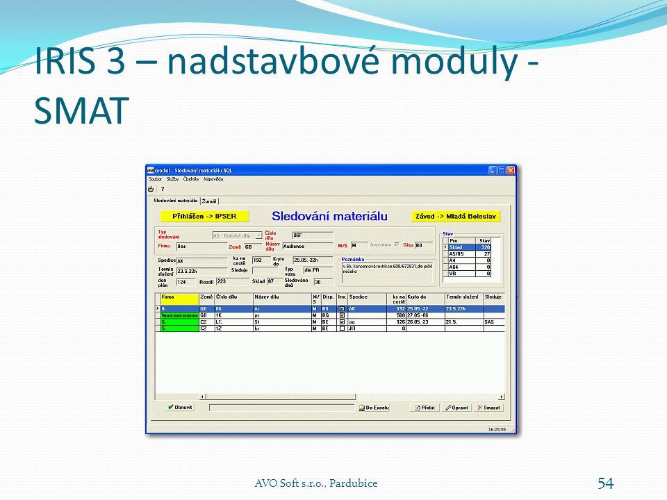 IRIS 3 – nadstavbové moduly - SMAT Modul SMAT je určen k  evidenci  a sledování pohybu vybraného materiálu podle mnoha kriterií.
