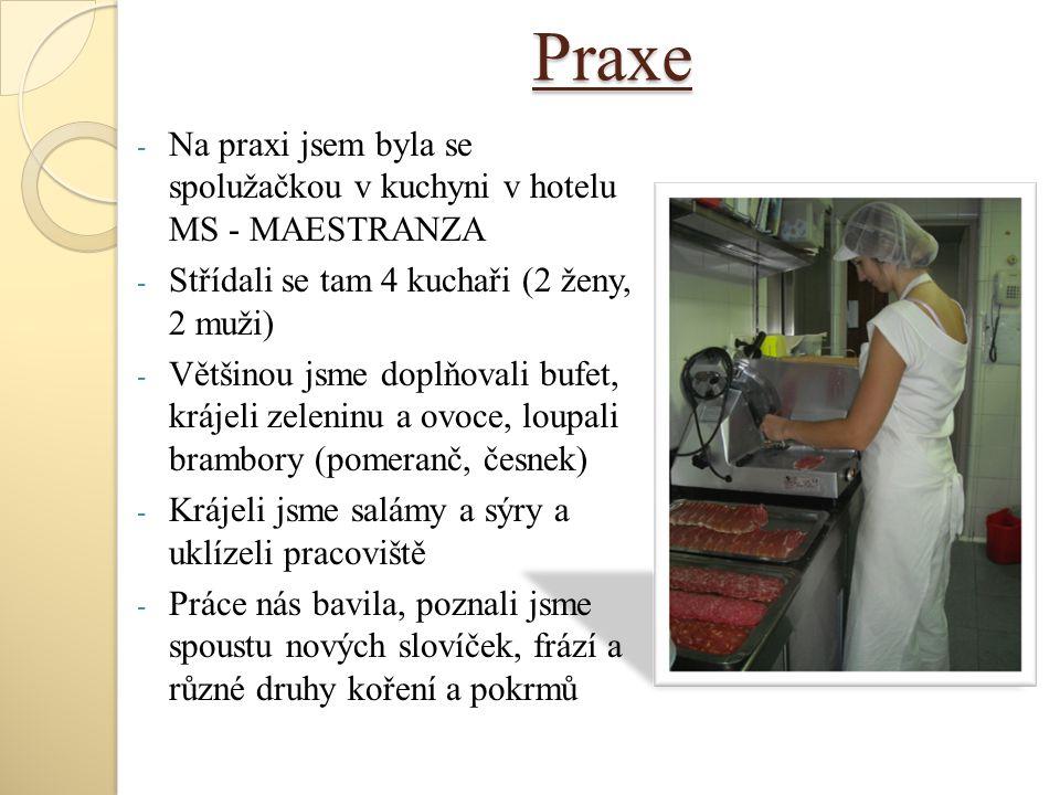 Praxe - Na praxi jsem byla se spolužačkou v kuchyni v hotelu MS - MAESTRANZA - Střídali se tam 4 kuchaři (2 ženy, 2 muži) - Většinou jsme doplňovali b