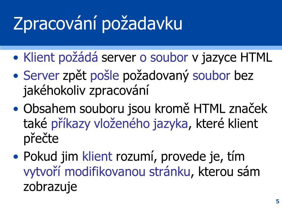 5 Zpracování požadavku •Klient požádá server o soubor v jazyce HTML •Server zpět pošle požadovaný soubor bez jakéhokoliv zpracování •Obsahem souboru j