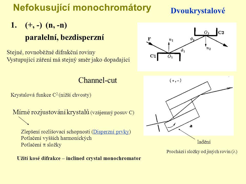 Nefokusující monochromátory Dvoukrystalové 1. (+, -)(n, -n) Stejné, rovnoběžné difrakční roviny Vystupující záření má stejný směr jako dopadající ladě