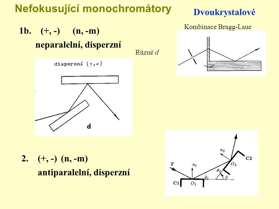 Nefokusující monochromátory Dvoukrystalové Kombinace Bragg-Laue 1b. (+, -)(n, -m) neparalelní, disperzní Různé d 2. (+, -)(n, -m) antiparalelní, dispe