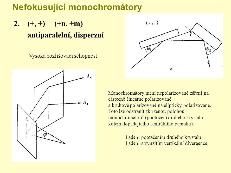 Nefokusující monochromátory 2. (+, +)(+n, +m) antiparalelní, disperzní Vysoká rozlišovací schopnost Monochromátory mění nepolarizované záření na částe