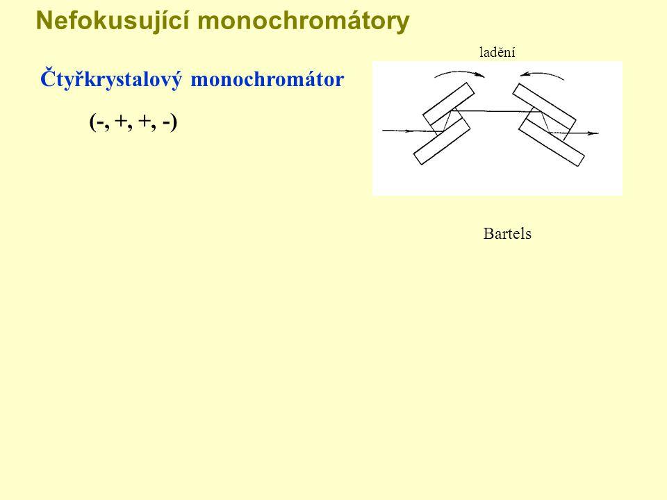 Nefokusující monochromátory Čtyřkrystalový monochromátor (-, +, +, -) ladění Bartels