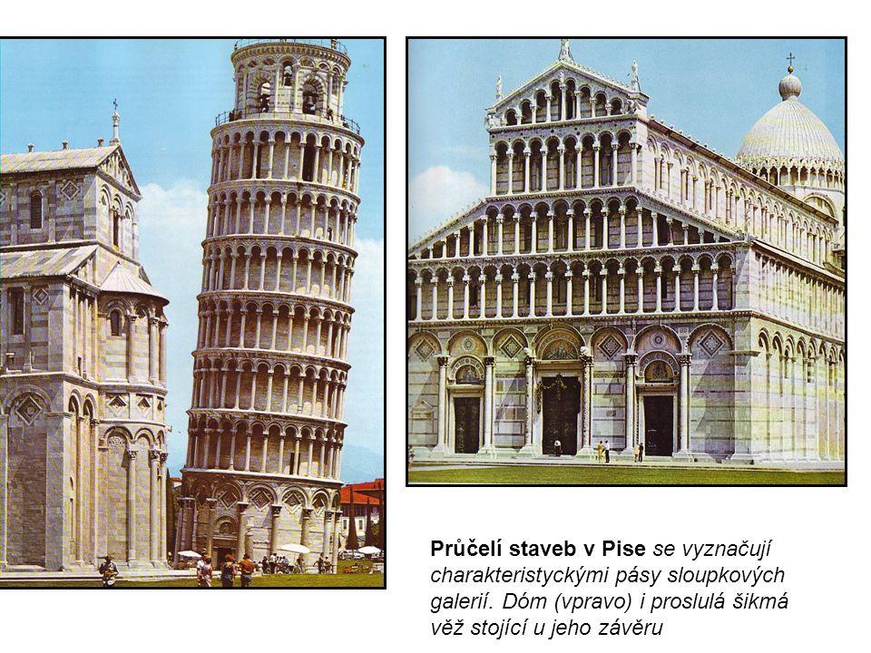 Průčelí staveb v Pise se vyznačují charakteristyckými pásy sloupkových galerií. Dóm (vpravo) i proslulá šikmá věž stojící u jeho závěru