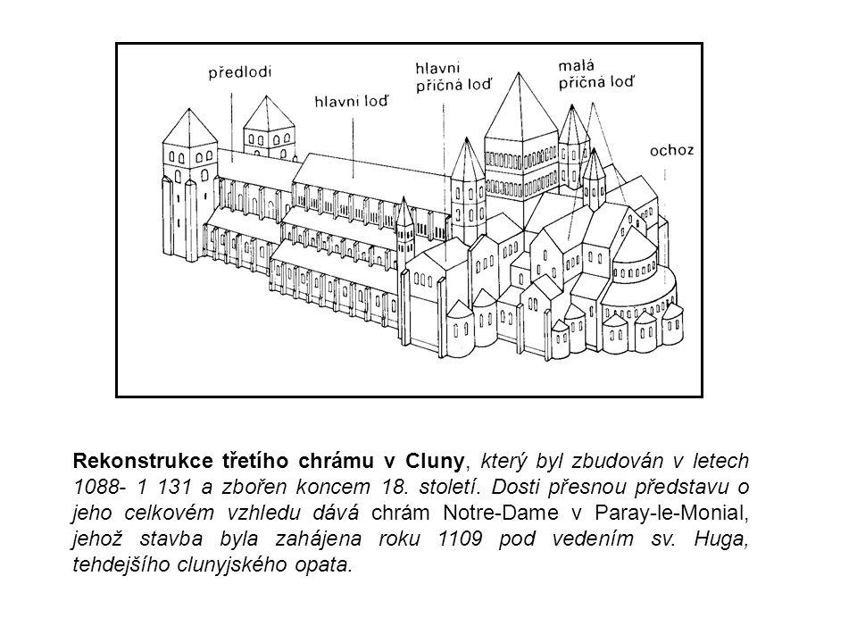 Rekonstrukce třetího chrámu v Cluny, který byl zbudován v letech 1088- 1 131 a zbořen koncem 18. století. Dosti přesnou představu o jeho celkovém vzhl