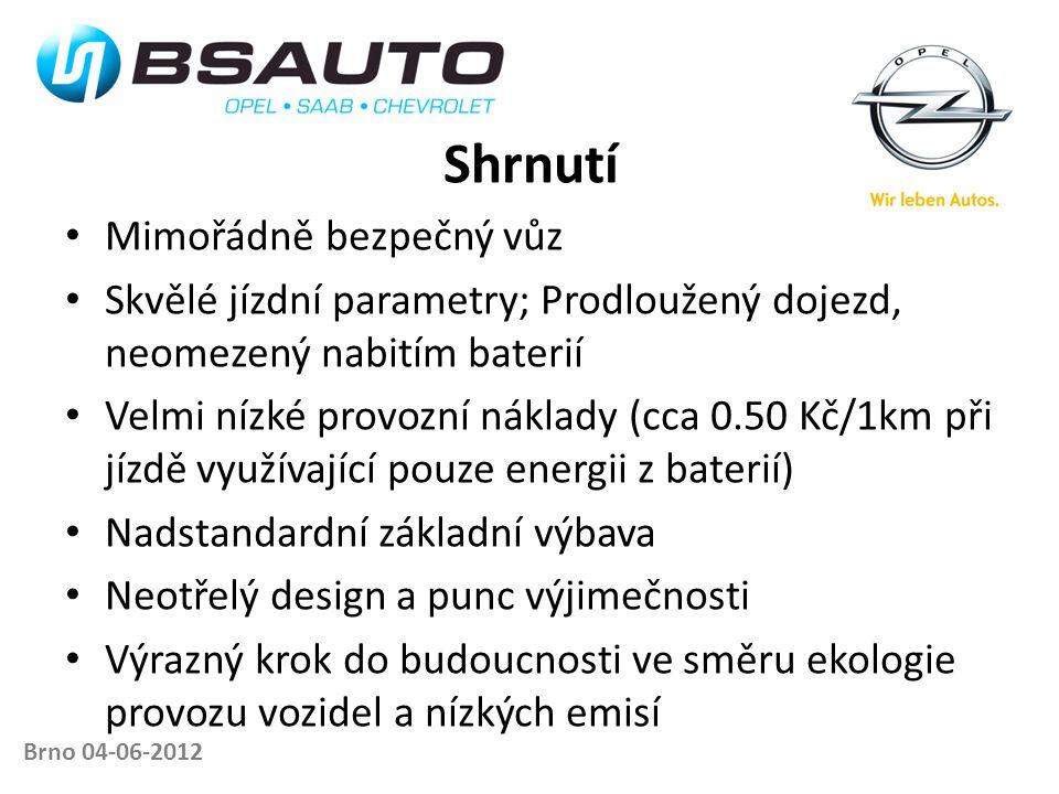 Shrnutí • Mimořádně bezpečný vůz • Skvělé jízdní parametry; Prodloužený dojezd, neomezený nabitím baterií • Velmi nízké provozní náklady (cca 0.50 Kč/