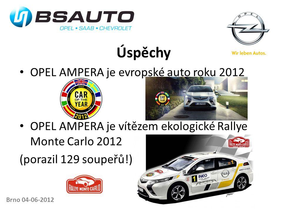 Brno 04-06-2012 Úspěchy • OPEL AMPERA je evropské auto roku 2012 • OPEL AMPERA je vítězem ekologické Rallye Monte Carlo 2012 (porazil 129 soupeřů!)