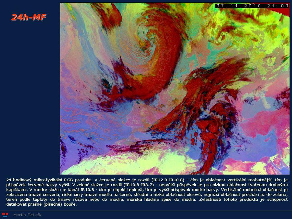 Martin Setvák 24h-MF 24-hodinový mikrofyzikální RGB produkt. V červené složce je rozdíl (IR12.0-IR10.8) - čím je oblačnost vertikálnì mohutnější, tím