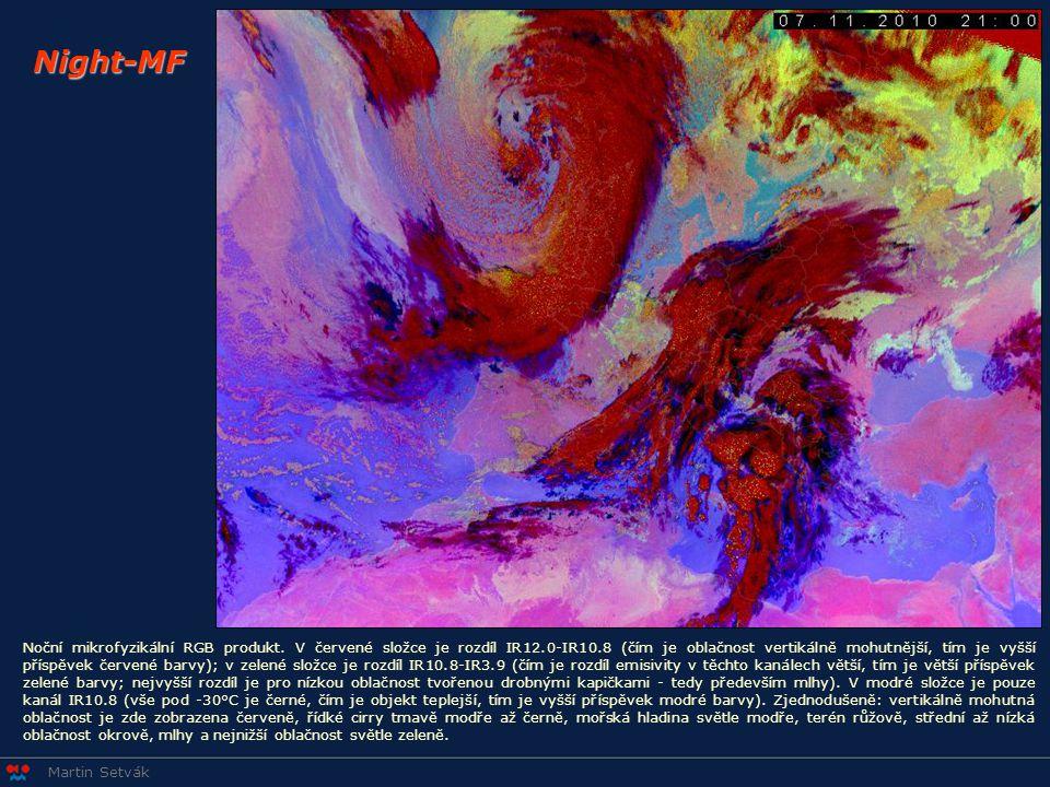 Martin Setvák Night-MF Noční mikrofyzikální RGB produkt. V červené složce je rozdíl IR12.0-IR10.8 (čím je oblačnost vertikálně mohutnější, tím je vyšš