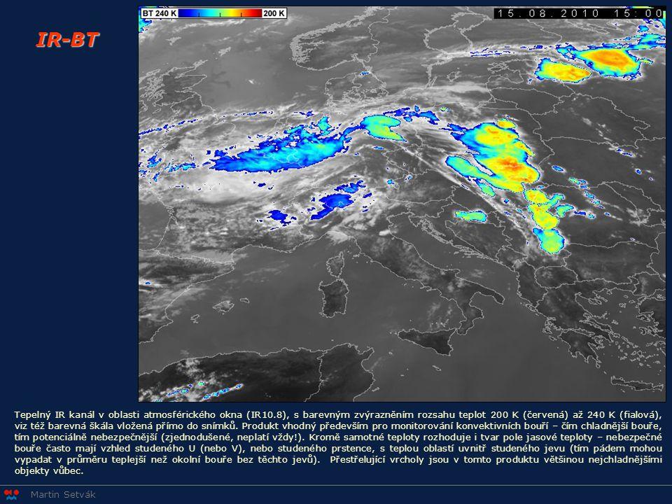 Martin Setvák IR-BT Tepelný IR kanál v oblasti atmosférického okna (IR10.8), s barevným zvýrazněním rozsahu teplot 200 K (červená) až 240 K (fialová),