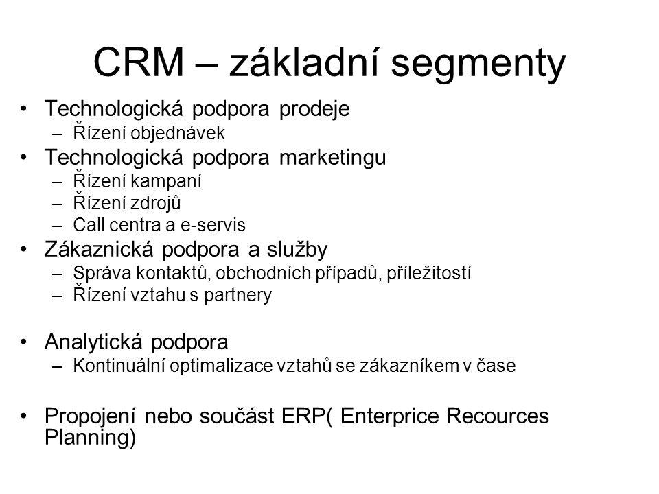 CRM – základní segmenty •Technologická podpora prodeje –Řízení objednávek •Technologická podpora marketingu –Řízení kampaní –Řízení zdrojů –Call centra a e-servis •Zákaznická podpora a služby –Správa kontaktů, obchodních případů, příležitostí –Řízení vztahu s partnery •Analytická podpora –Kontinuální optimalizace vztahů se zákazníkem v čase •Propojení nebo součást ERP( Enterprice Recources Planning)