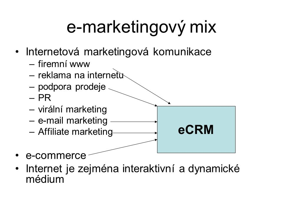 e-marketingový mix •Internetová marketingová komunikace –firemní www –reklama na internetu –podpora prodeje –PR –virální marketing –e-mail marketing –