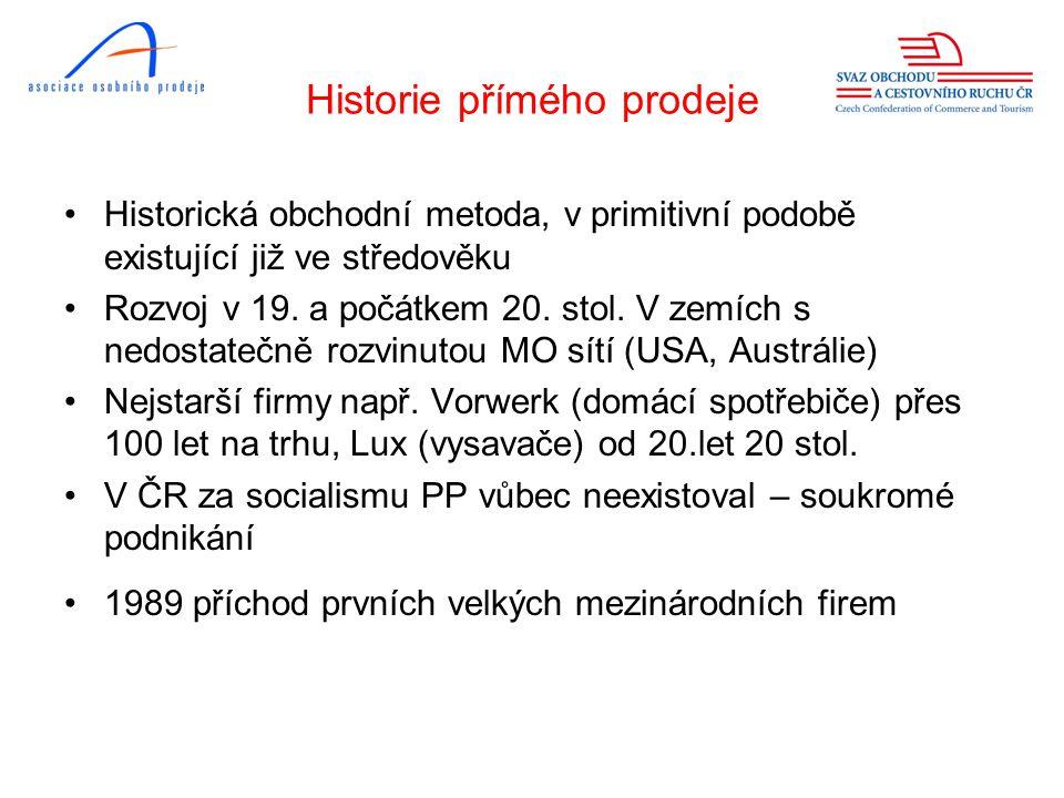 Historie přímého prodeje •Historická obchodní metoda, v primitivní podobě existující již ve středověku •Rozvoj v 19.