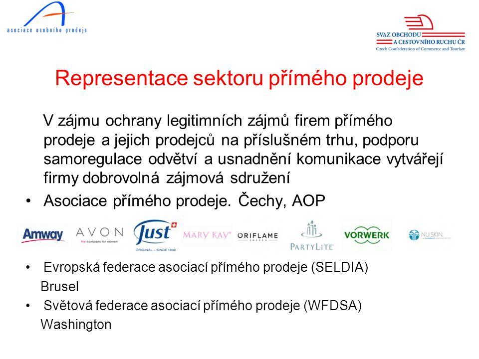 Representace sektoru přímého prodeje •AOP je členem: - Svazu obchodu a cestovního ruchu ČR - Asociace malých a středních podniků a živnostníků ČR