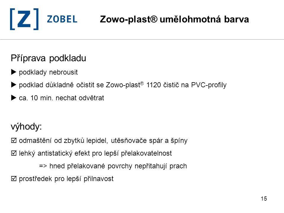 15 Příprava podkladu  podklady nebrousit  podklad důkladně očistit se Zowo-plast ® 1120 čistič na PVC-profily  ca. 10 min. nechat odvětrat výhody: