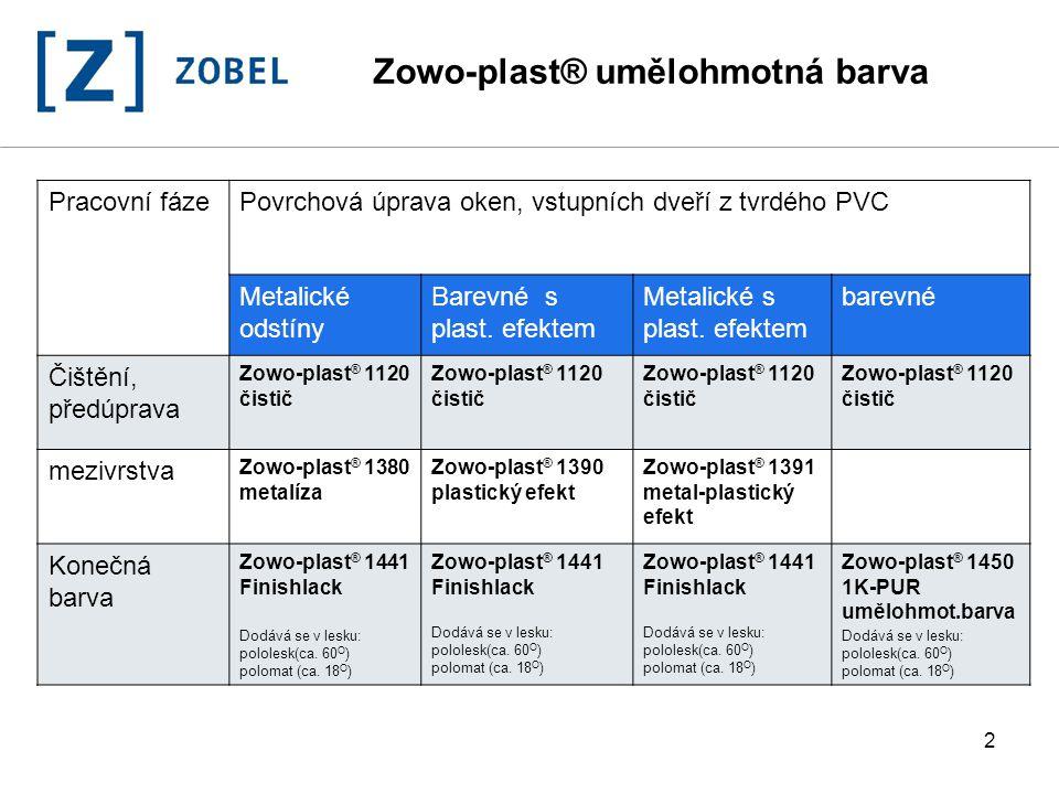 2 Zowo-plast® umělohmotná barva Pracovní fázePovrchová úprava oken, vstupních dveří z tvrdého PVC Metalické odstíny Barevné s plast. efektem Metalické