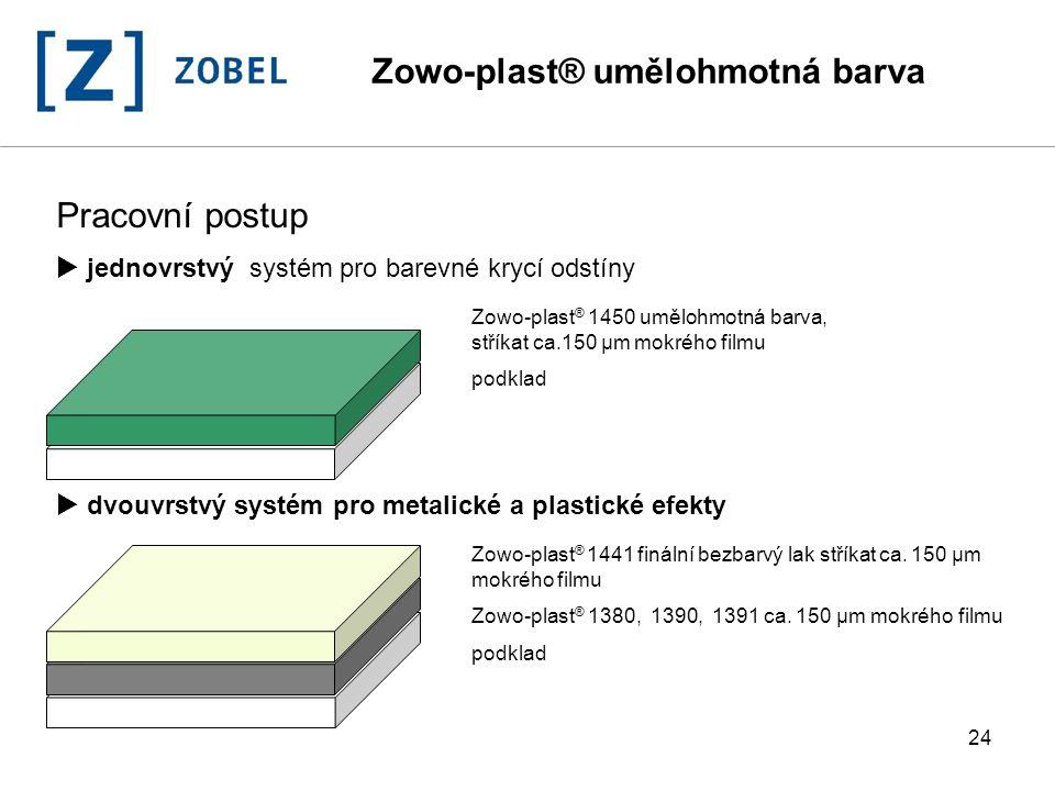 24 Pracovní postup  jednovrstvý systém pro barevné krycí odstíny  dvouvrstvý systém pro metalické a plastické efekty Zowo-plast ® 1450 umělohmotná b