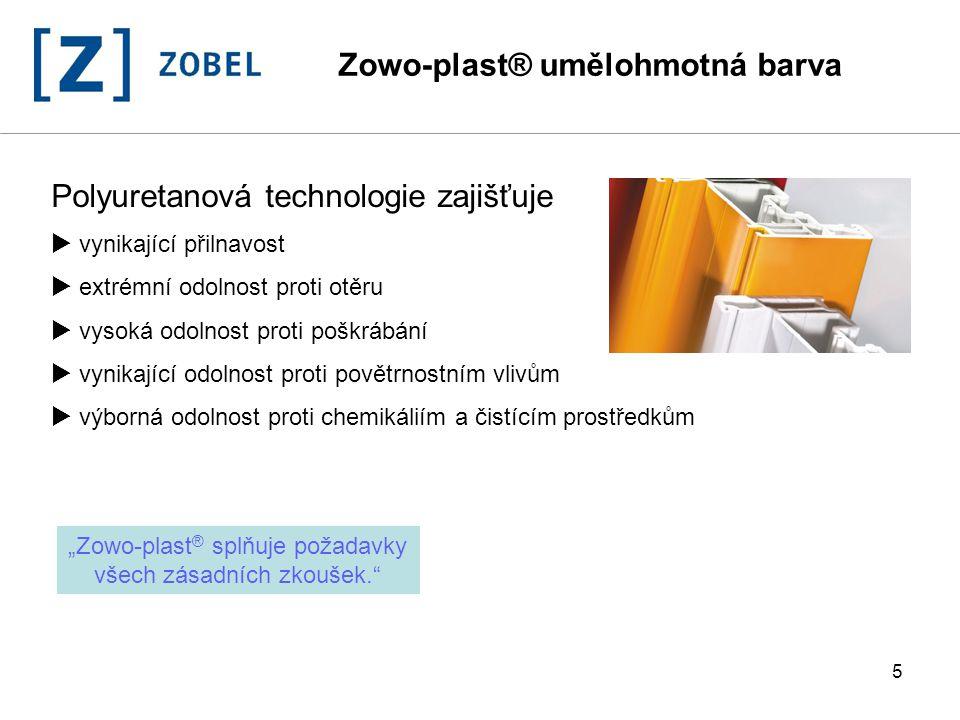16 Postup při aplikaci  stříkáním  vakuovým nanášením Zowo-plast ® umělohmotná barva + 3% vody posuv 16 m/min ca.