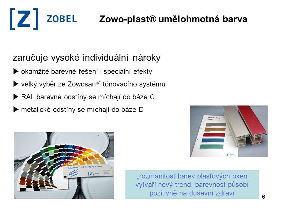 7 Zowosan ® pigmentovací systém  operativní možnost namíchání  snižuje nároky na zásoby  rychle k dodání  záruka stejné barevnosti Zowo-plast 1450 RAL 5011 dílky (0,308 ml)objem(ml) měrná váha (g/ml) váha (g) Evocolor HS154,621,25,544 Evocolor LT6921,2521,4230,17784 Evocolor MS14945,8921,2657,82392 Evocolor RS278,3161,2910,72764 Evocolor XT92,7722,055,6826 Báze:Báze C9001,05945 Zowo-plast® umělohmotná barva