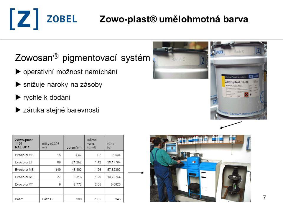 7 Zowosan ® pigmentovací systém  operativní možnost namíchání  snižuje nároky na zásoby  rychle k dodání  záruka stejné barevnosti Zowo-plast 1450