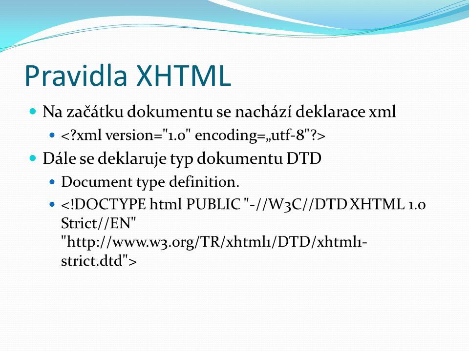 Pravidla XHTML  Na začátku dokumentu se nachází deklarace xml   Dále se deklaruje typ dokumentu DTD  Document type definition.