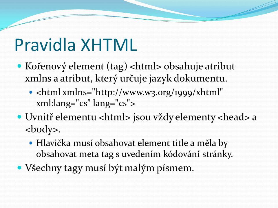 Pravidla XHTML  Kořenový element (tag) obsahuje atribut xmlns a atribut, který určuje jazyk dokumentu.