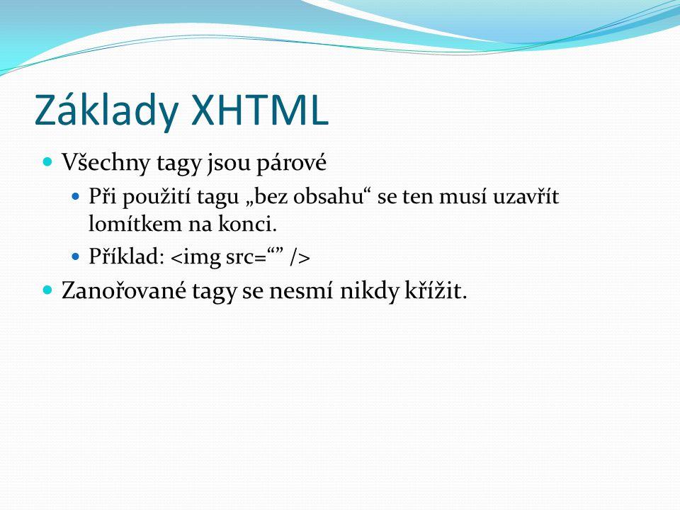 """Základy XHTML  Všechny tagy jsou párové  Při použití tagu """"bez obsahu se ten musí uzavřít lomítkem na konci."""