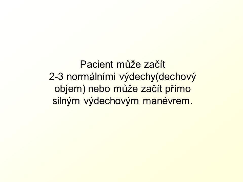 Pacient může začít 2-3 normálními výdechy(dechový objem) nebo může začít přímo silným výdechovým manévrem.