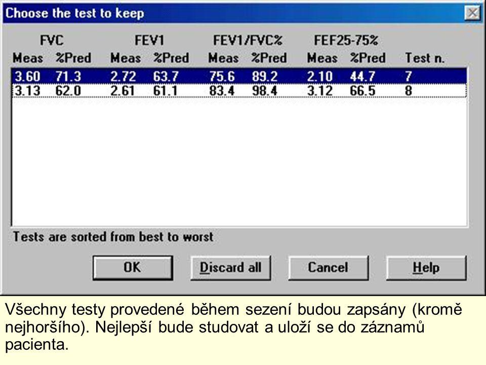 Všechny testy provedené během sezení budou zapsány (kromě nejhoršího). Nejlepší bude studovat a uloží se do záznamů pacienta.