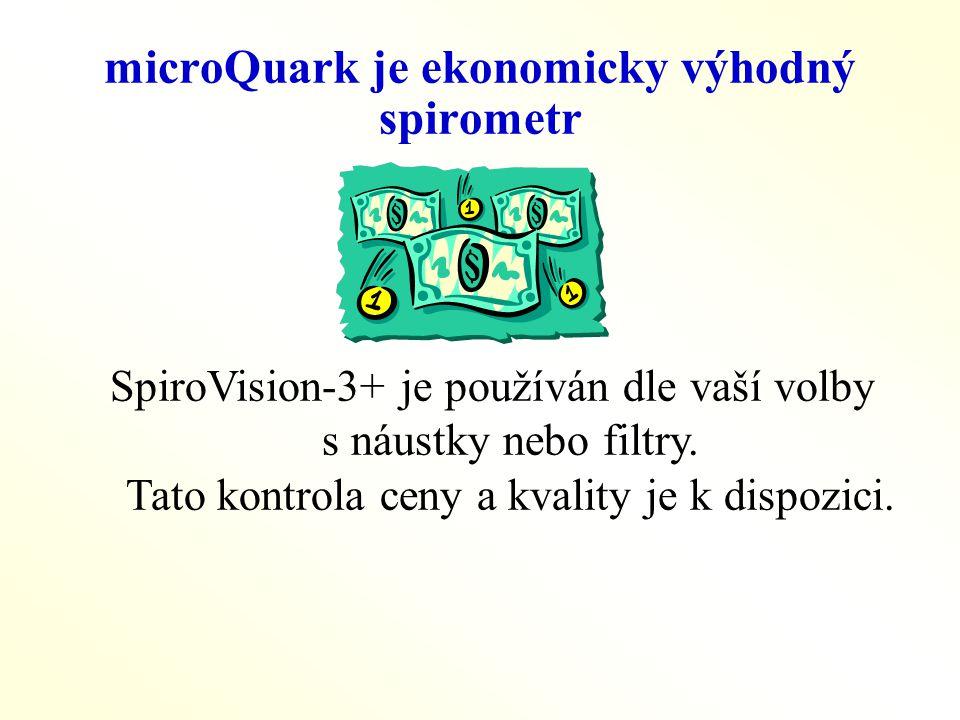 microQuark je ekonomicky výhodný spirometr SpiroVision-3+ je používán dle vaší volby s náustky nebo filtry. Tato kontrola ceny a kvality je k dispozic