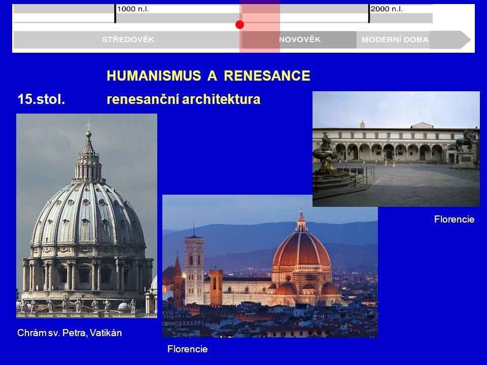 15.stol. HUMANISMUS A RENESANCE renesanční architektura Chrám sv. Petra, Vatikán Florencie