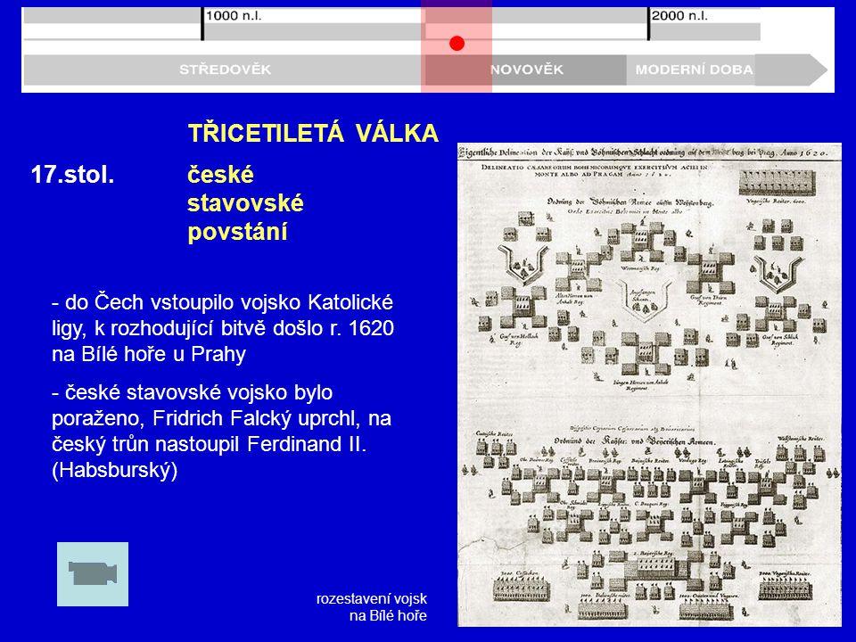 17.stol.TŘICETILETÁ VÁLKA - do Čech vstoupilo vojsko Katolické ligy, k rozhodující bitvě došlo r.