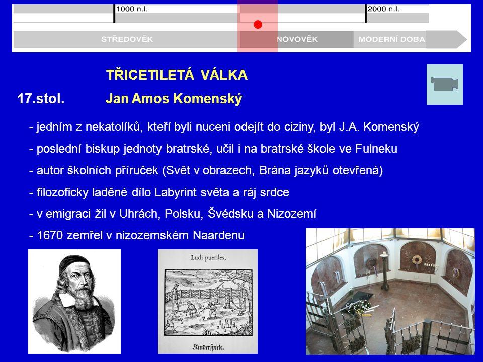 17.stol.TŘICETILETÁ VÁLKA - jedním z nekatolíků, kteří byli nuceni odejít do ciziny, byl J.A.