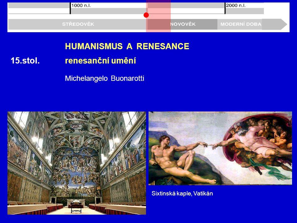 15.stol. HUMANISMUS A RENESANCE renesanční umění Michelangelo Buonarotti Sixtinská kaple, Vatikán
