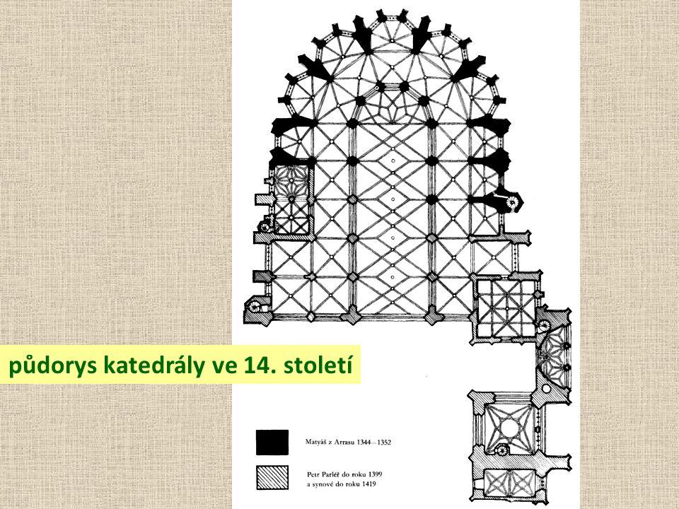 půdorys katedrály ve 14. století