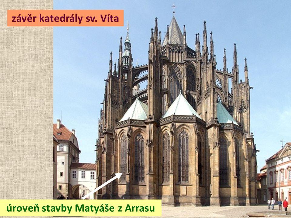 závěr katedrály sv. Víta úroveň stavby Matyáše z Arrasu