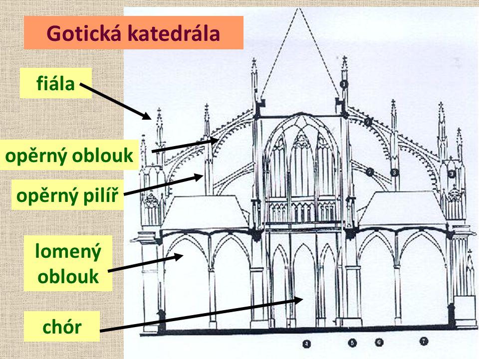 Gotická katedrála fiála opěrný oblouk opěrný pilíř chór lomený oblouk