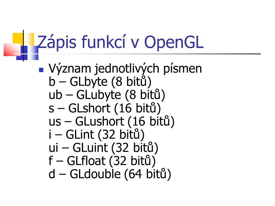 Zápis funkcí v OpenGL  Význam jednotlivých písmen b – GLbyte (8 bitů) ub – GLubyte (8 bitů) s – GLshort (16 bitů) us – GLushort (16 bitů) i – GLint (32 bitů) ui – GLuint (32 bitů) f – GLfloat (32 bitů) d – GLdouble (64 bitů)