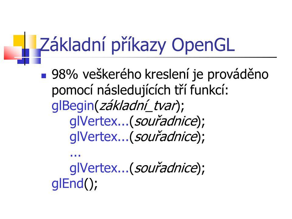 Základní příkazy OpenGL  98% veškerého kreslení je prováděno pomocí následujících tří funkcí: glBegin(základní_tvar); glVertex...(souřadnice); glVertex...(souřadnice);...