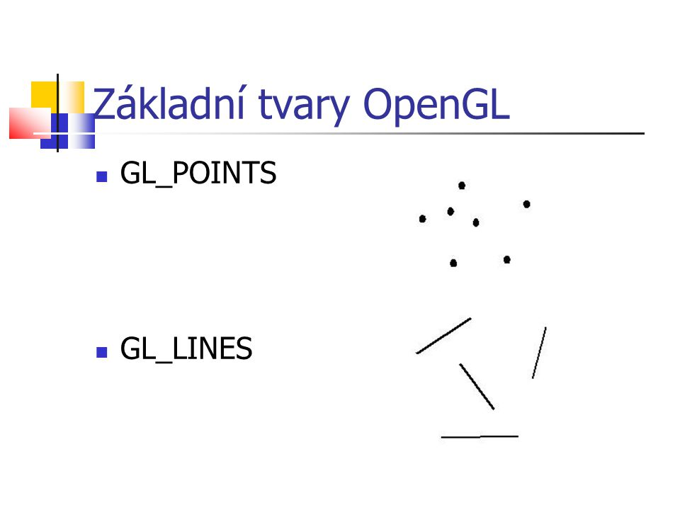 Základní tvary OpenGL  GL_POINTS  GL_LINES