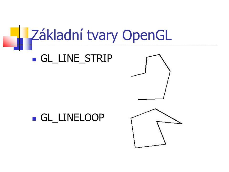 Základní tvary OpenGL  GL_LINE_STRIP  GL_LINELOOP