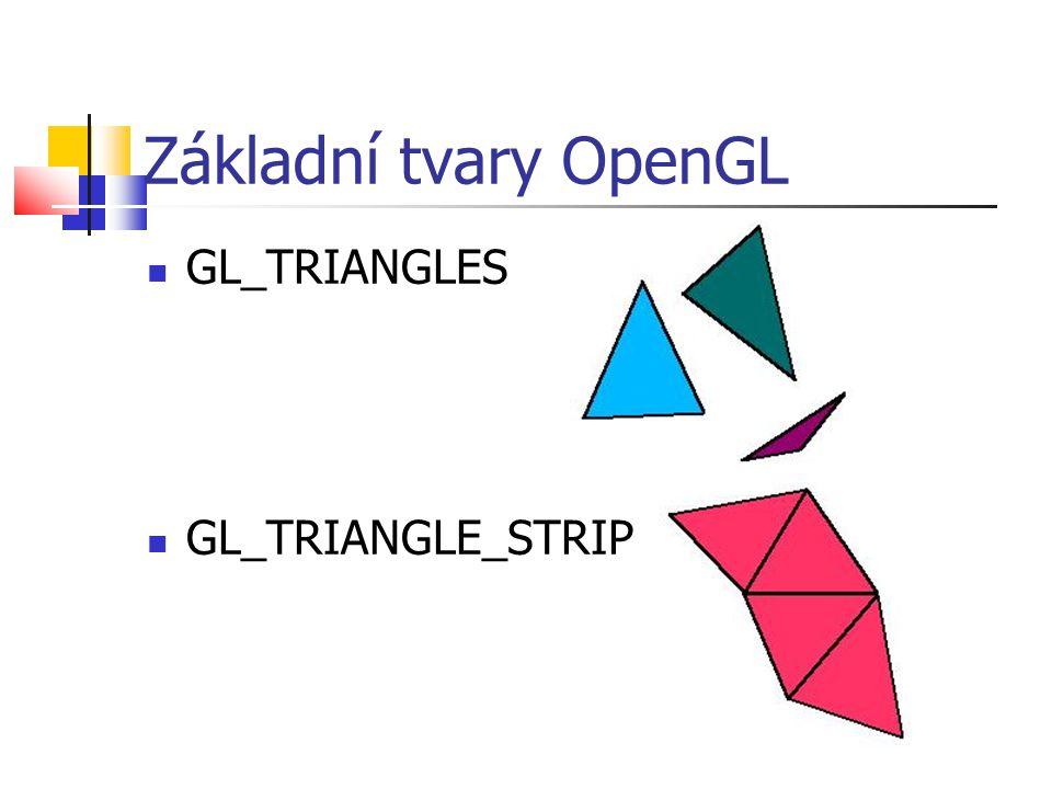 Základní tvary OpenGL  GL_TRIANGLES  GL_TRIANGLE_STRIP