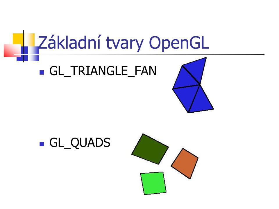 Základní tvary OpenGL  GL_TRIANGLE_FAN  GL_QUADS