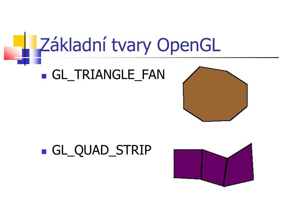 Základní tvary OpenGL  GL_TRIANGLE_FAN  GL_QUAD_STRIP
