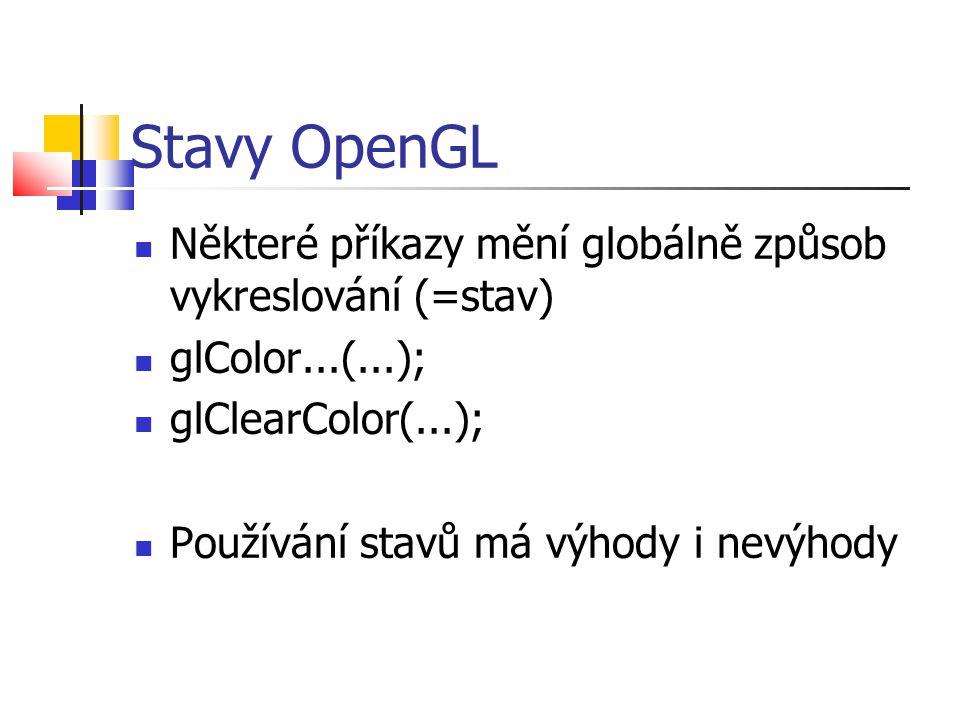 Stavy OpenGL  Některé příkazy mění globálně způsob vykreslování (=stav)  glColor...(...);  glClearColor(...);  Používání stavů má výhody i nevýhody