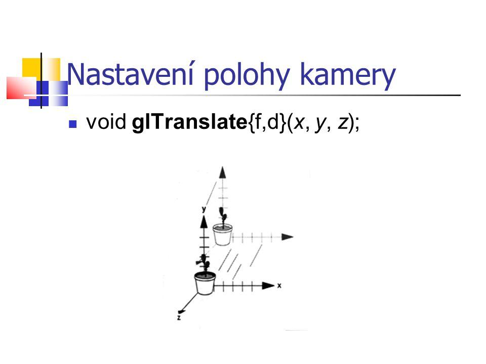 Nastavení polohy kamery  void glTranslate{f,d}(x, y, z);