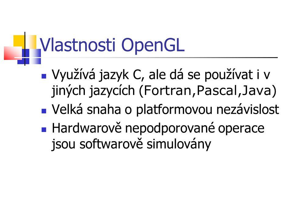 Vlastnosti OpenGL  Využívá jazyk C, ale dá se používat i v jiných jazycích ( Fortran,Pascal,Java )  Velká snaha o platformovou nezávislost  Hardwarově nepodporované operace jsou softwarově simulovány