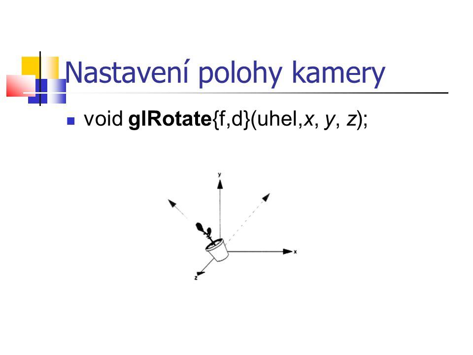 Nastavení polohy kamery  void glRotate{f,d}(uhel,x, y, z);