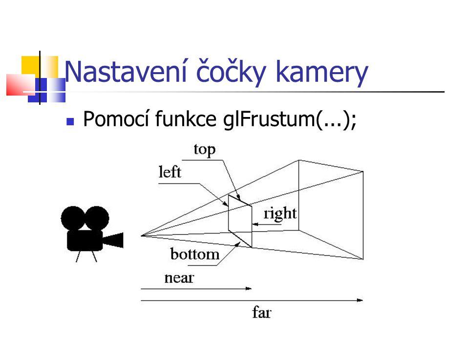 Nastavení čočky kamery  Pomocí funkce glFrustum(...);