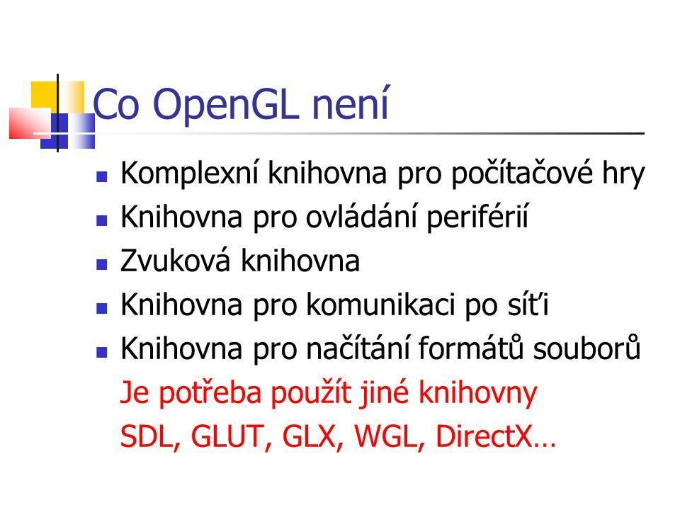 Co OpenGL není  Komplexní knihovna pro počítačové hry  Knihovna pro ovládání periférií  Zvuková knihovna  Knihovna pro komunikaci po síťi  Knihovna pro načítání formátů souborů Je potřeba použít jiné knihovny SDL, GLUT, GLX, WGL, DirectX…